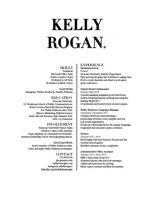 Kelly Rogan Resume September 2018
