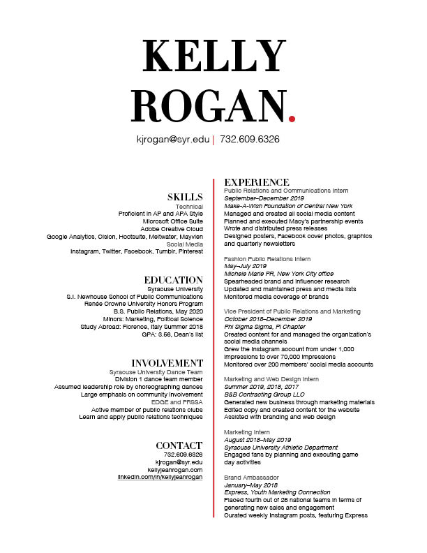 Kelly Rogan Resume May 2020